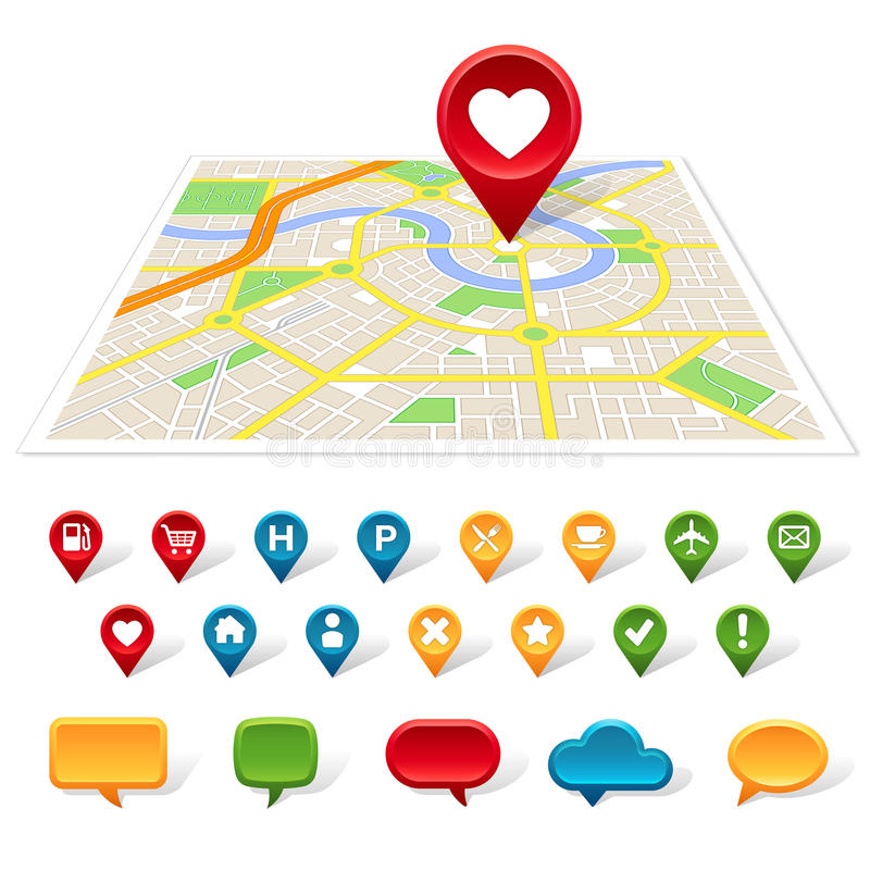 Generic city map, location and communication icons. A generic map of a city is on a white background with colorful place icons and speech bubbles below it royalty free illustration