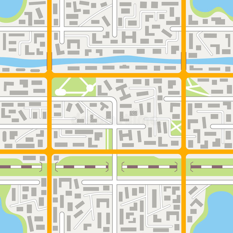 Generic city map seamless pattern. City map seamless pattern background. EPS10 vector illustration in flat style stock illustration