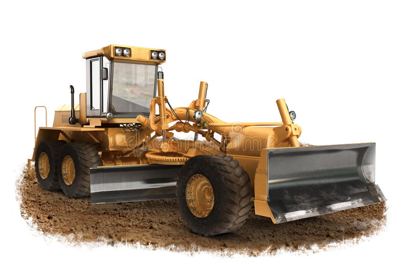 Generic construction road grader construction machinery equipment. Positioned on dirt with a white background stock illustration