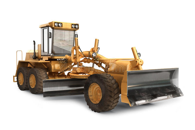 Generic construction road grader construction machinery equipment. Positioned on a white background vector illustration