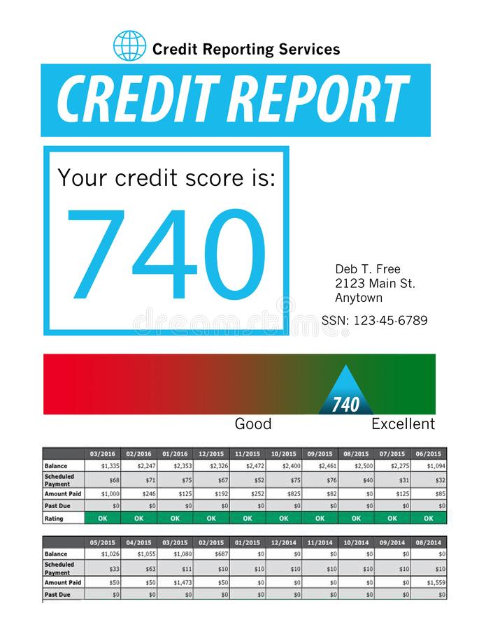 This is a generic copy of a credit report. royalty free illustration