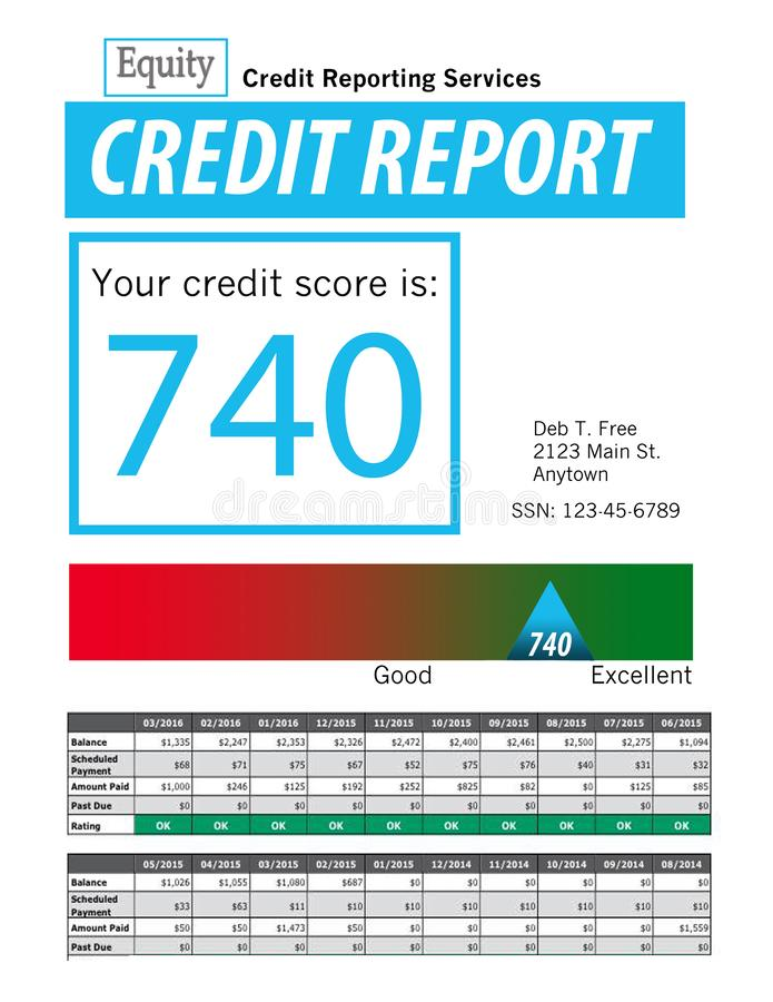 This is a generic copy of a credit report. vector illustration