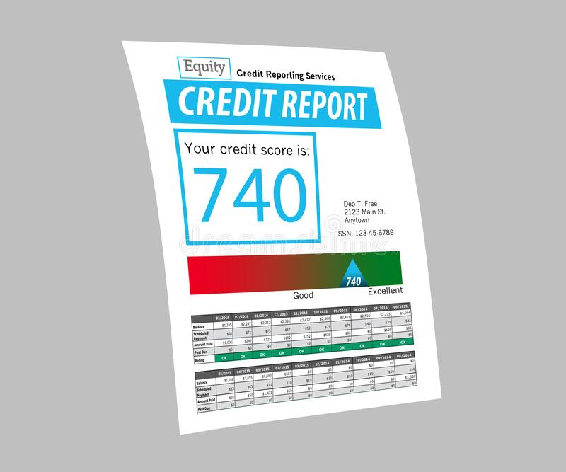 This is a generic copy of a credit report. stock illustration