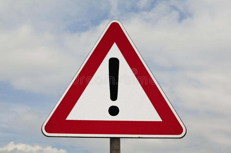 Generic Danger. Road Sign. Vertical traffic signal, Danger, another threat royalty free stock image