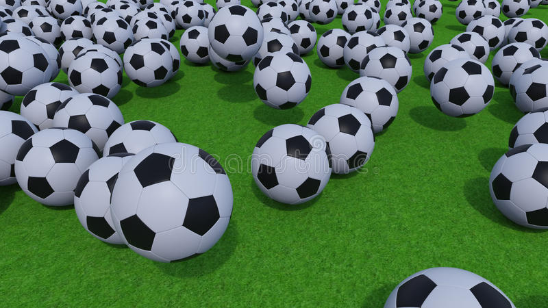 Generic football balls rolling and bouncing on green grass. 3D rendering. Multiple football balls rolling on green grass field royalty free stock photos