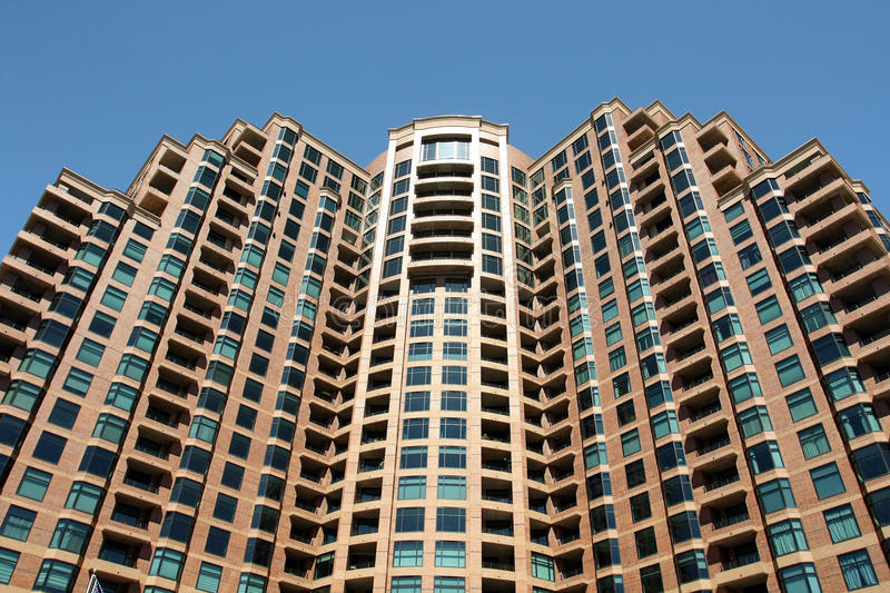 Generic Highrise Housing. Upward shot of generic highrise residential building stock photos