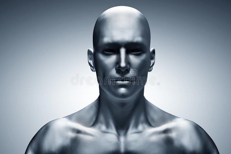 Generic human man face, front view. Futuristic vector illustration