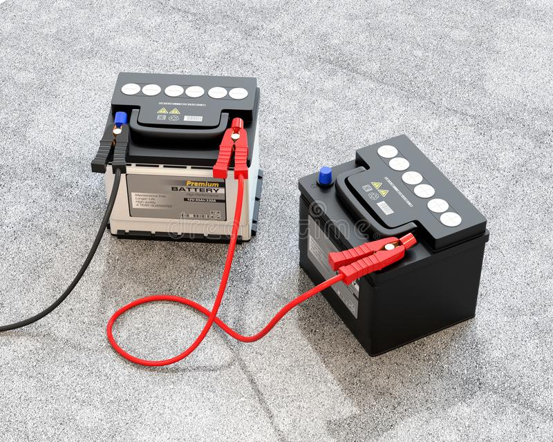 Generic maintenance-free car batteries connected by jumper cable on concrete ground stock illustration