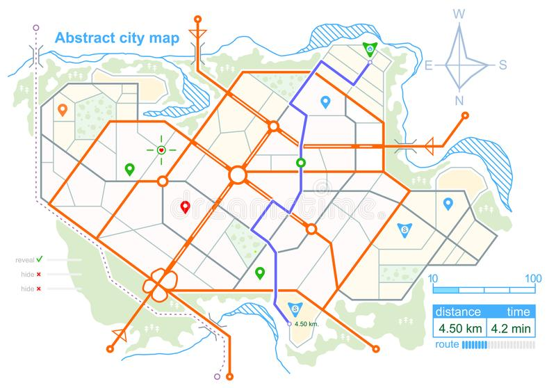 City map. Line scheme of roads. Town streets on the plan. Urban environment, architectural background. Vector stock illustration
