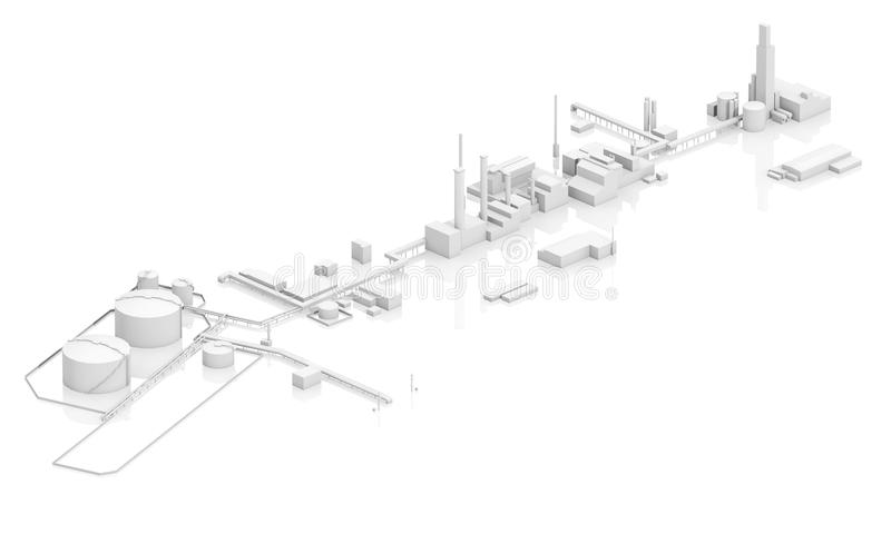 Generic modern industrial facility 3d. Generic modern industrial facility with tanks, chimneys and buildings, 3d model isolated on white background, bird eye stock illustration