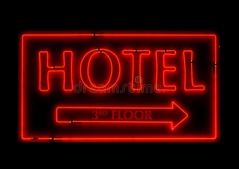 Generic Neon Hotel Sign. With no company logos attached stock images