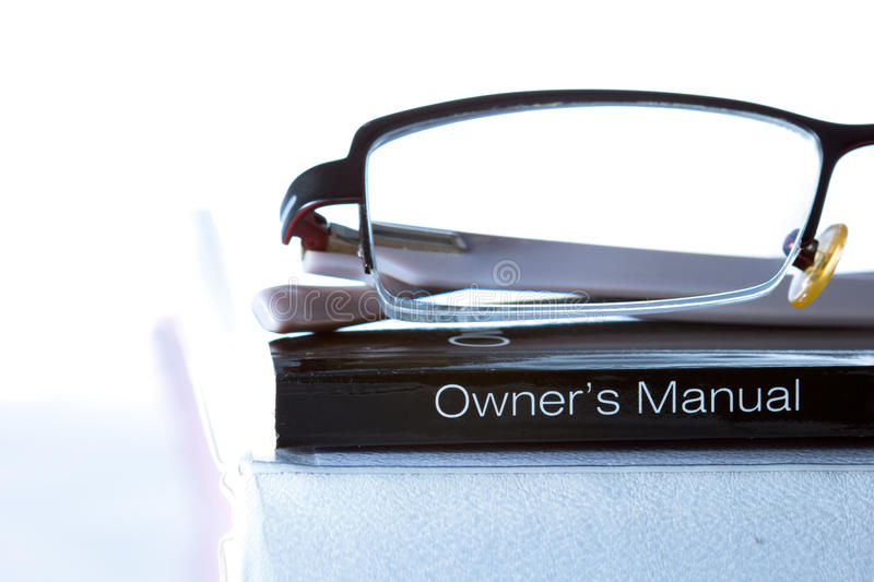 Generic owner's manual. Generic owner's manual (on white background stock photography