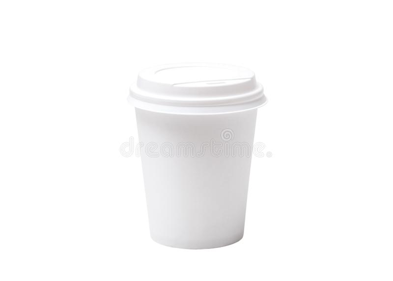 Generic plain white paper coffee cup. To put your logo or copy on it. White paper Cup isolated on white background royalty free stock images