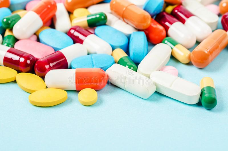 Generic prescription medicine drugs pills and assorted pharmaceutical tablets. Generic prescription medicine drugs pills and assorted pharmaceutical tablets royalty free stock photos