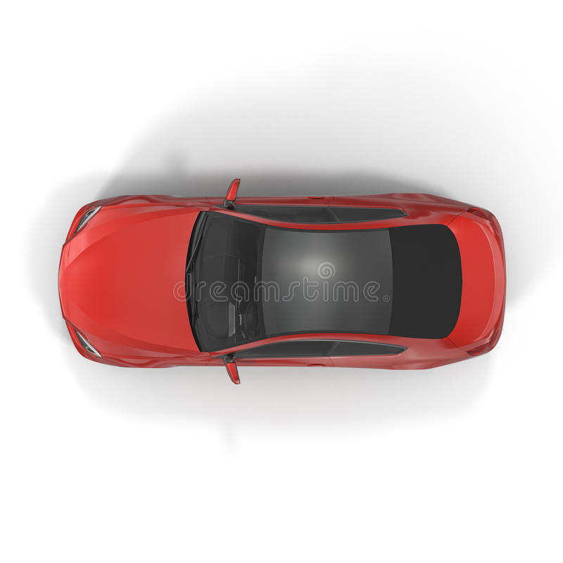 Generic red car - top view on white 3D Illustration. Generic red car - top view on white background 3D Illustration stock photos