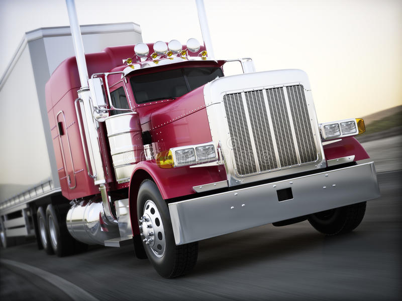 Generic semi truck hauling cargo down the road with motion blur. stock illustration