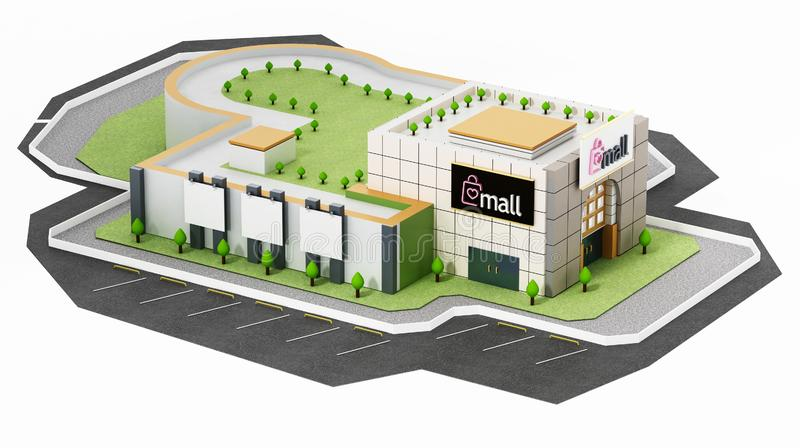 Generic shopping mall building isolated on white background. 3D illustration vector illustration