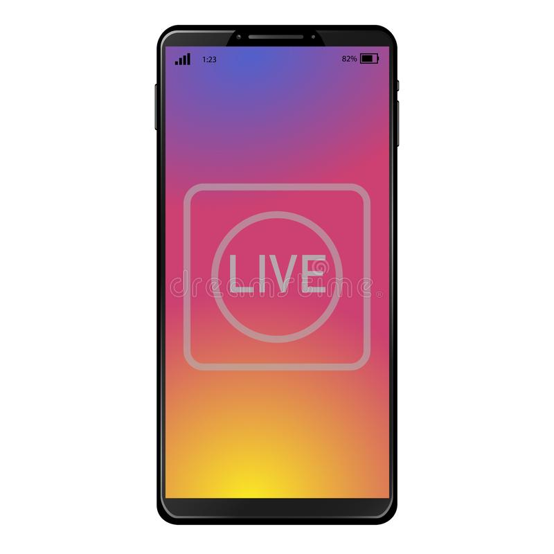 Generic smart phone with live video symbol. Icon on sunset color screen desktop background vector illustration