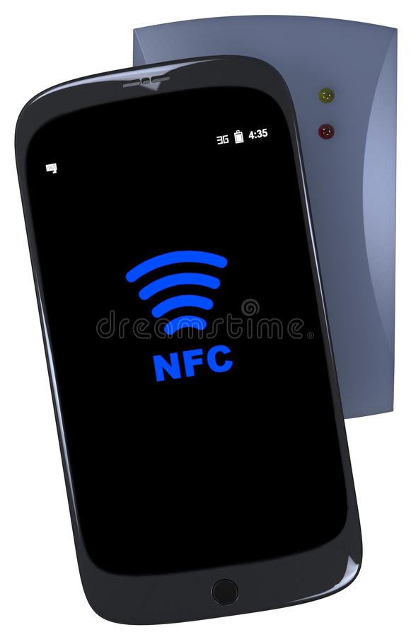 Generic smartphone touches nfc reader stock illustration
