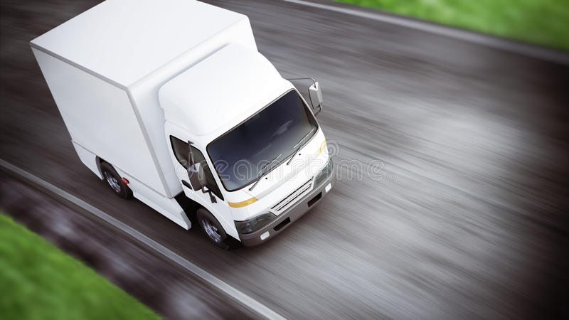 Generic white industrial transport truck traveling down the road with motion blur. Room for text or copy space. vector illustration