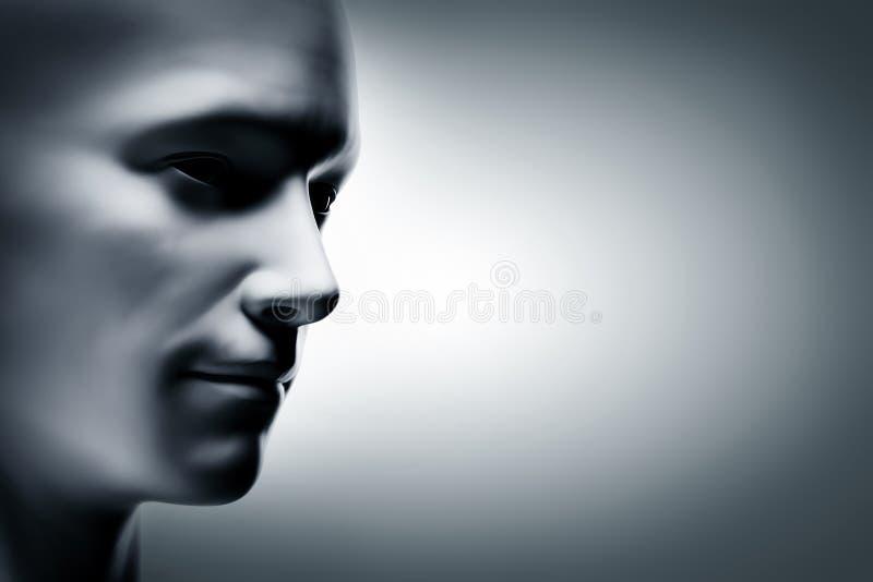 Generisch menselijk mensengezicht, profielkant futuristisch