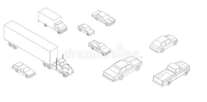 Generische auto's & vrachtwagens isometrische vector royalty-vrije illustratie