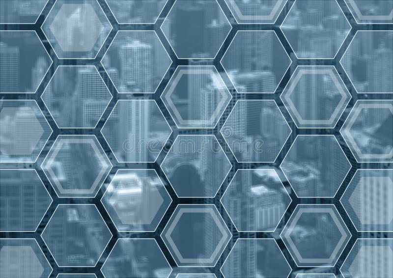 Generische blauwe en grijze bedrijfsachtergrond met vage stadshorizon en bekleding van veelhoeken stock foto's