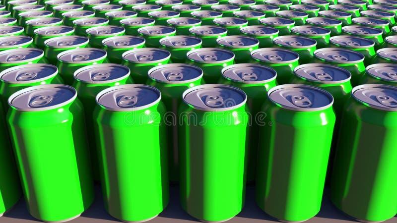 Generische grüne Aluminiumdosen Alkoholfreie Getränke oder Bierherstellung Wiederverwertung von Verpackung Wiedergabe 3d lizenzfreies stockfoto