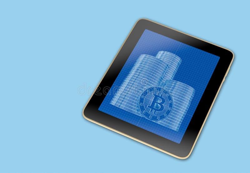 Generische Tablet met stapels van Bitcoins op het scherm stock foto