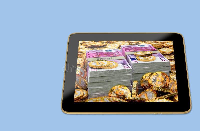 Generische Tablet met stapels van Bitcoins op het scherm royalty-vrije stock afbeelding
