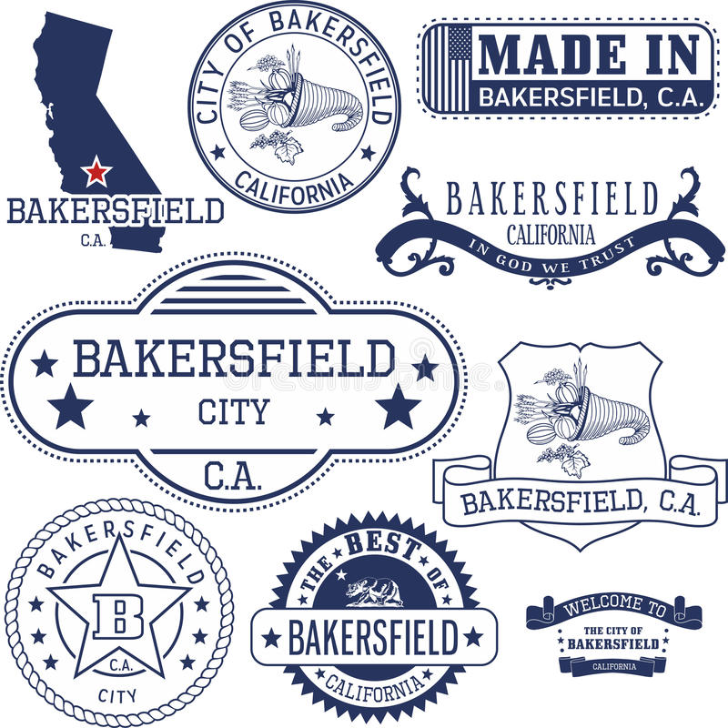 Generische zegels en tekens van de stad van Bakersfield, CA royalty-vrije illustratie