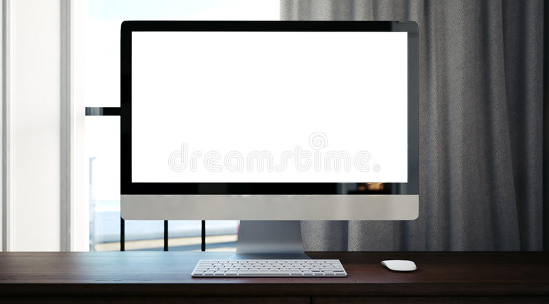 Generischer Designcomputer auf dem Holztisch 3d lizenzfreie stockfotografie