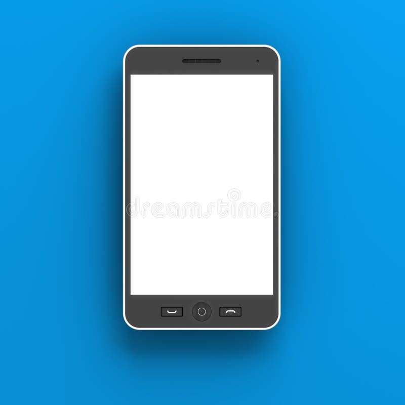 Generischer Smartphone gegen blauen Hintergrund, 3d stock abbildung
