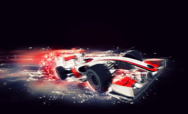 Generisk bil F1 med special hastighetseffekt royaltyfri illustrationer