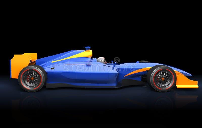Generisk blå racerbil stock illustrationer