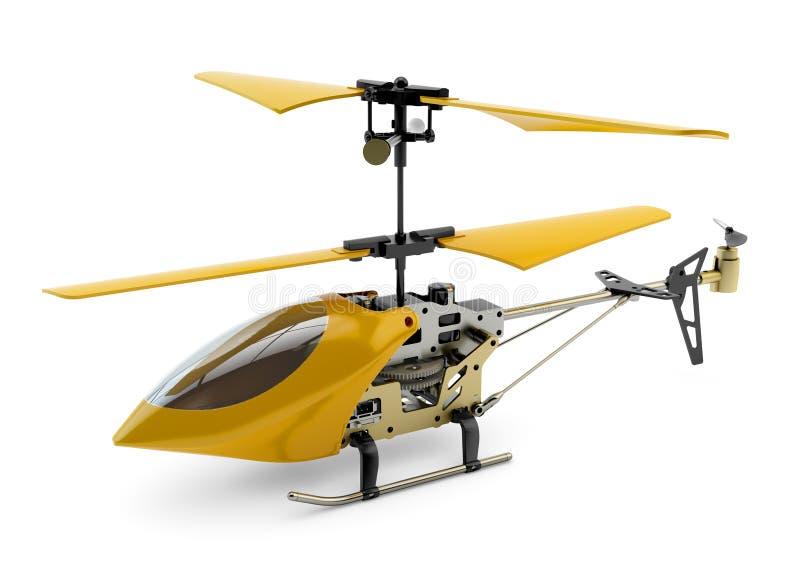 Generisk gul fjärrstyrd helikopter arkivbilder