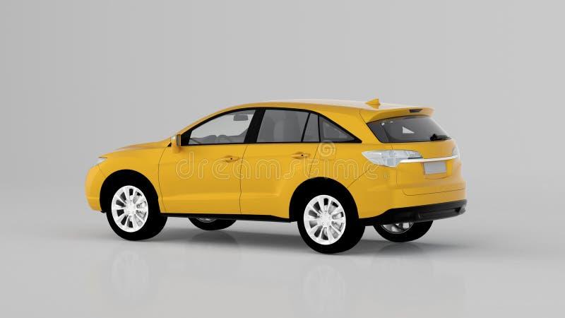 Generisk gul SUV bil som isoleras på vit bakgrund, baksidasikt arkivbild