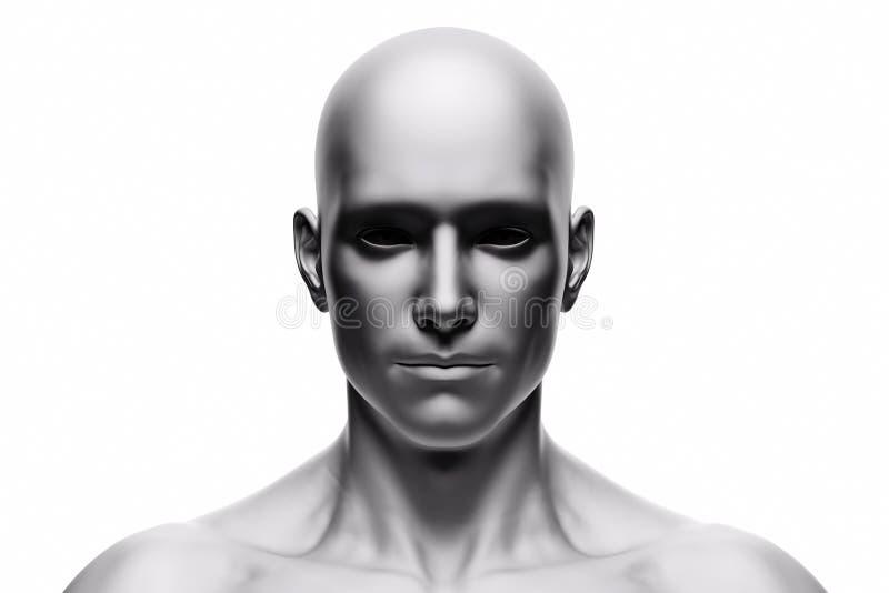 Generisk mänsklig manframsida, främre sikt futuristic vektor illustrationer