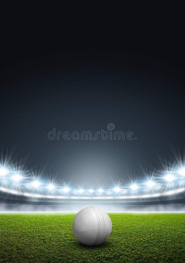 Generisk strålkastarbelyst stadion med syrsabollen stock illustrationer