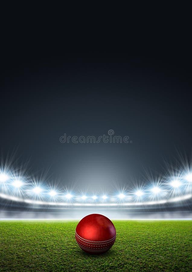 Generisk strålkastarbelyst stadion med syrsabollen royaltyfri illustrationer