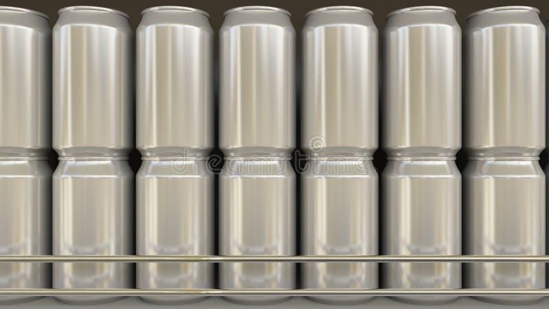 Generiska aluminiumburkar i livsmedelsbutik Sodavatten eller öl på supermarkethylla Modernt förpacka för återvinning framförande  royaltyfria foton