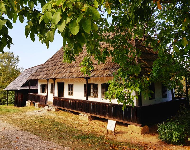 Generiskt gammalt byhus arkivfoto