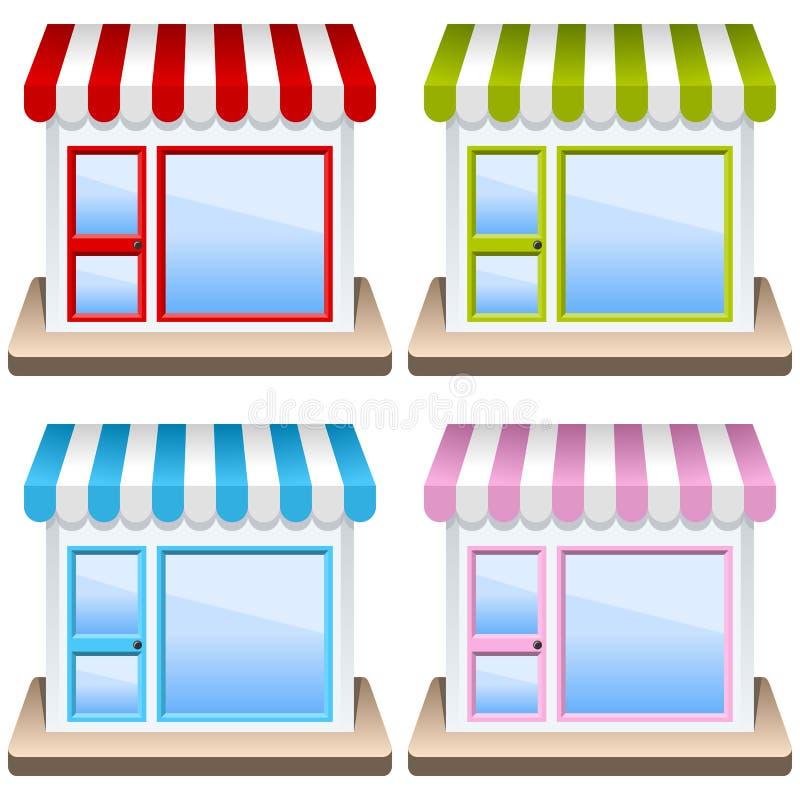 Generiskt shoppa byggnadssymbolsuppsättningen royaltyfri illustrationer