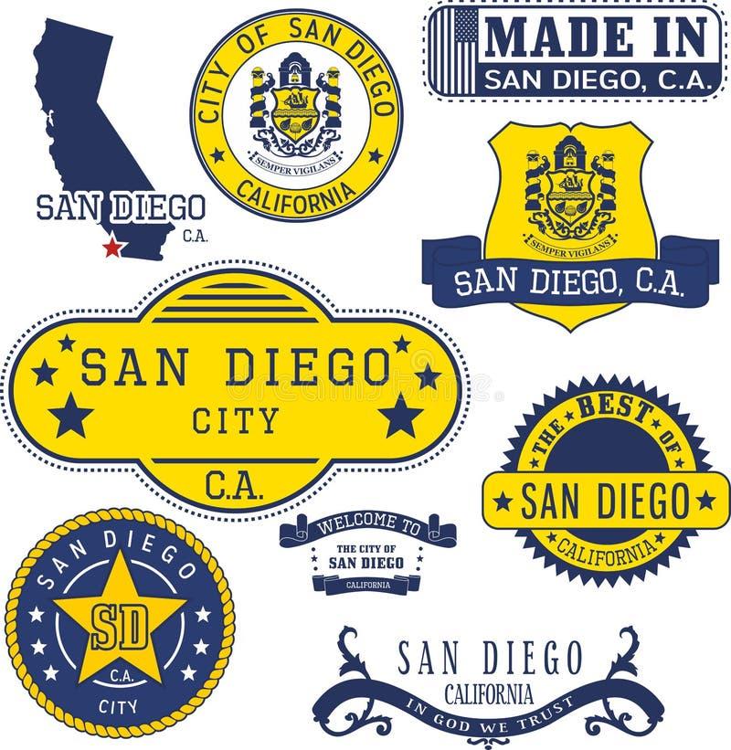 Generiskt stämplar och tecken av den San Diego staden, CA stock illustrationer