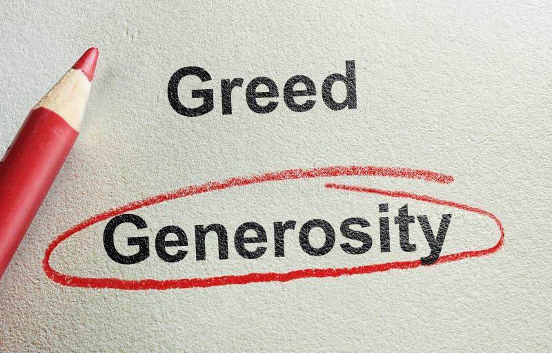 Generositet och girighet arkivfoto