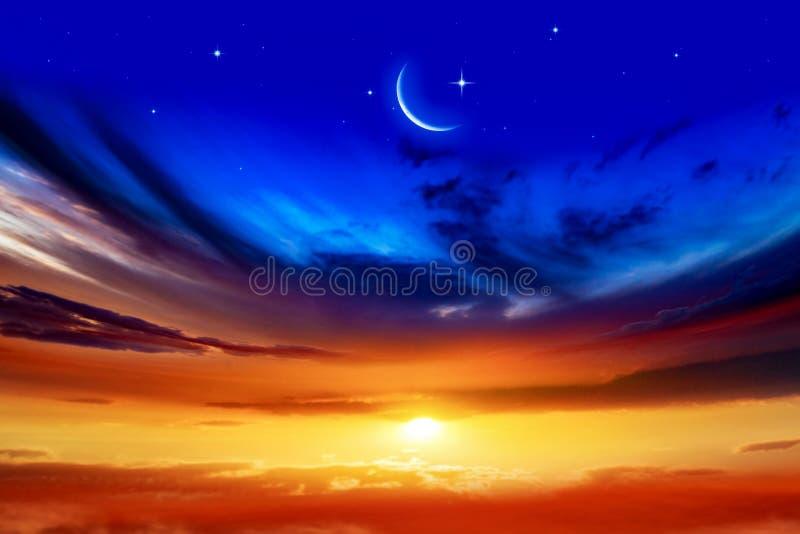 Generous Ramadan . New moon. Prayer time. Beautiful dark fluffy cloudy sky with sun rays . Crescent moon with beautiful sunset background . Generous Ramadan royalty free stock photo
