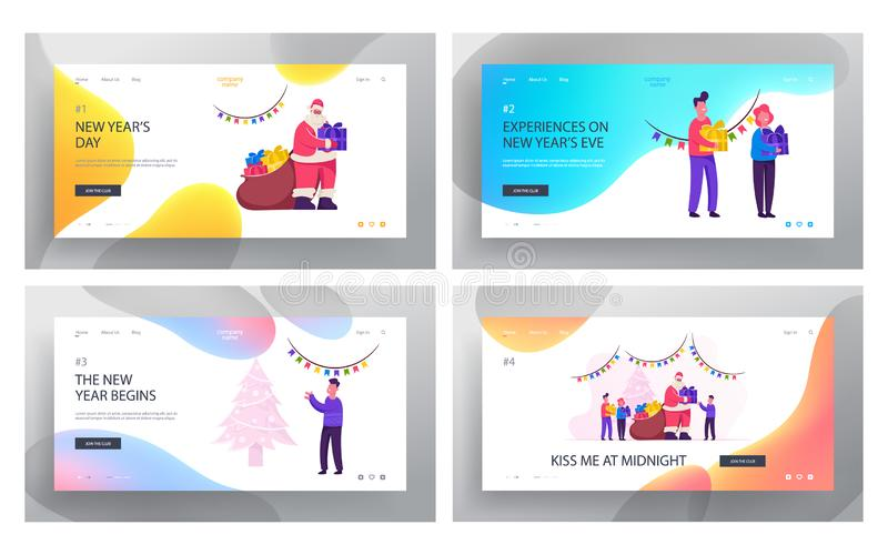 Generous Santa Claus Bringing Gifts to Children Website Landing Page Set. Happy Kids Celebrate Christmas and New Year royalty free illustration