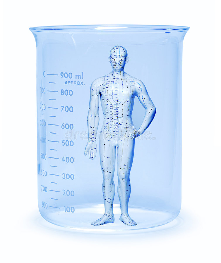Genes Science Research Testing. Model of a man in a glass beaker royalty free stock images