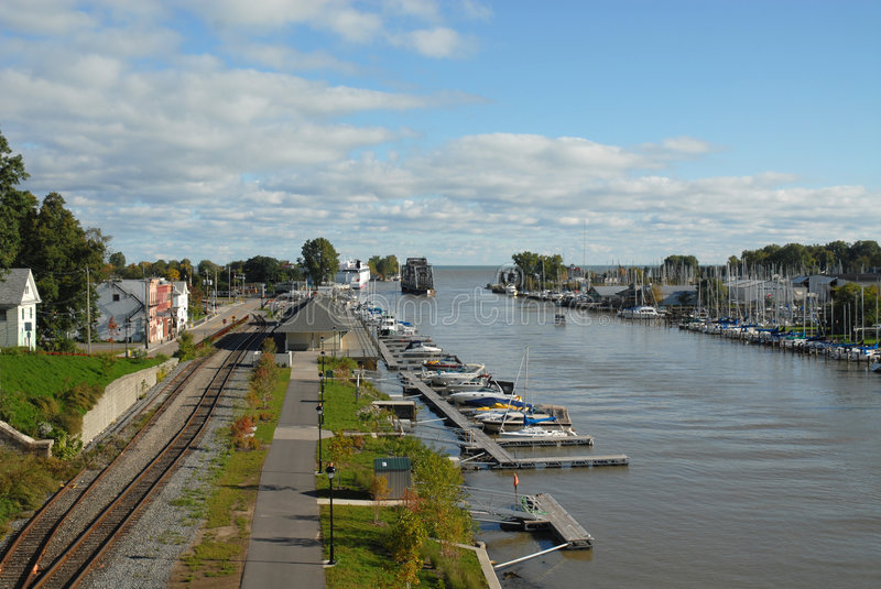 Genesee River. Boat docks along the Genesee River, Rochester, New York stock photography