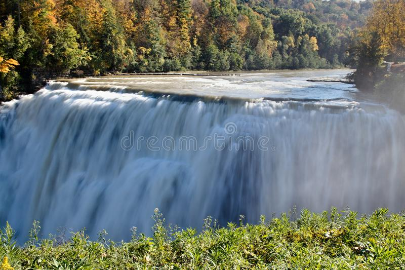 Genesee River over the Middle Falls stock image